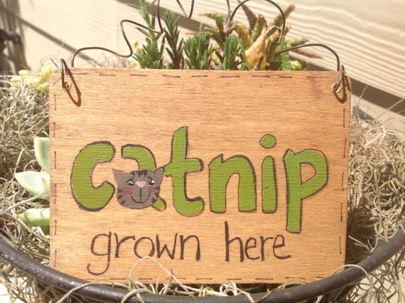 Primitive Cat Lover Garden Sign, Hand Painted Catnip Sign