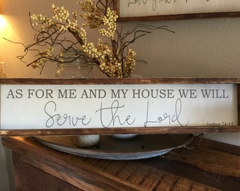 as for me and my house we will serve the lord - Joshua 24:15  vintage style - great gift for weddings, housewarmings, birthdays