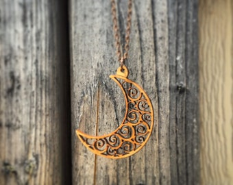 Wood Swirl Moon Design Two Chain Necklace