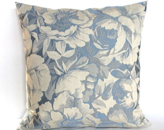 Blue Pillow Cover Blue Cream Floral Upholstery Fabric Decorative Pillow Throw Pillow Cover Euro Sham 26x26 24x24 22x22 20x20 18x18 16x16