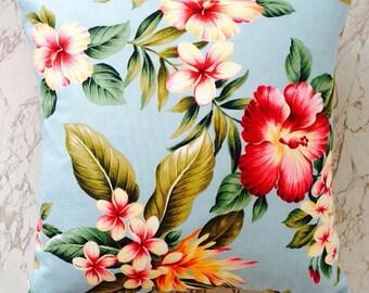Tropical hibiscus barkcloth cushion