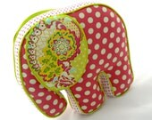 Elephant Pillow Pink Polka-dot and Paisley