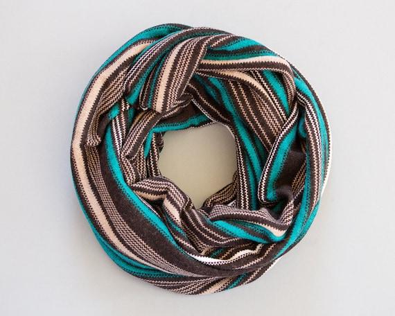 Striped Infinity Scarf Knitting Pattern : Striped Infinity Scarf Chunky Scarf Brown Striped Scarf Jersey