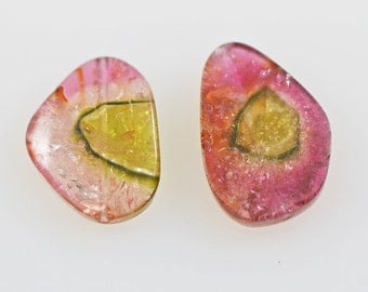 Watermelon Tourmaline Slices Two Drilled Beads