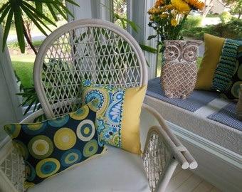 Circle Design Pillow - Navy Pillow - Yellow Pillow - Blue Pillow - Lumbar Pillow 12 x 16 inch - KAS Kellam Navy Upholstery Home Fabric -