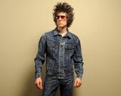 vintage Lee denim jacket 80s acid wash stone wash 1980s jean jacket Lee Riders mens medium dark wash jeans jacket