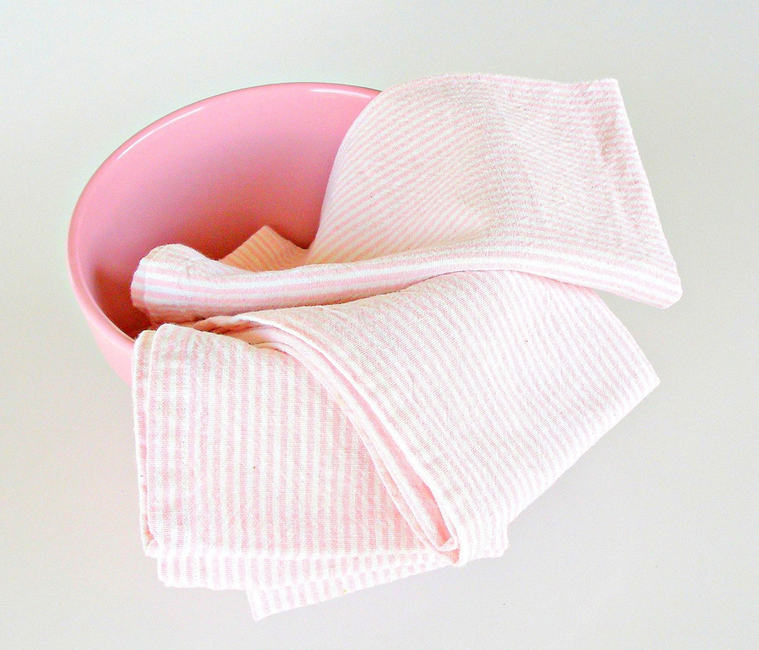 Vintage Kitchen Towels Pink White Striped Cotton Dish Towels