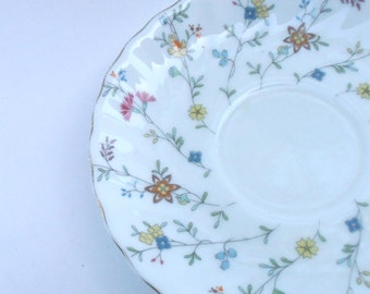 Vintage White Swirl China Plate Multicolored Wildflowers Floral Maple Brand Saucer Dish Charger Tray Blue Pink Green Fine Porcelain Pottery