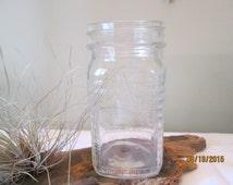 Vintage Pint Jar with Waffle Pattern, Kitchen Decor, Barware, Drinking Jar, Canning Supplies