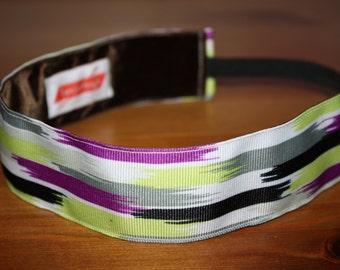 """A 'Stormy Summer Night' Headband - 1.5"""" Non-Slip Headband - Purple, Neon Green, Black, White - Non-Slip Running/Workout Headband"""