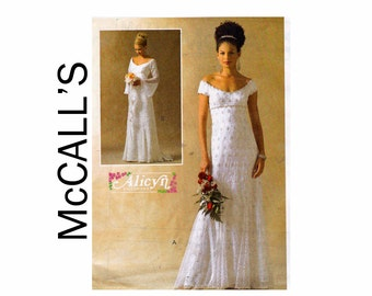 Bridal Gown with Godets overlay UNCUT OOP Sewing Pattern Sizes 14 16 18 20 Bust 36 38 40 42 McCalls 4714 Alicyn Exclusives