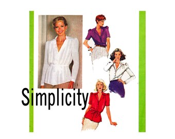 70s Blouse with stand up collar and tie belt Size 16 Bust 38 and Size 18 bust 40 Simplicity 9256 UNCUT Vintage Sewing Pattern