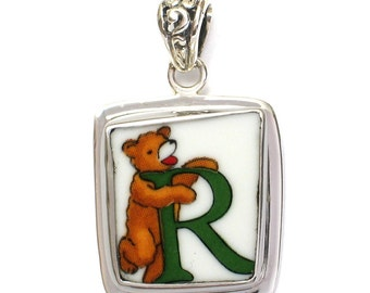 Broken China Jewelry Alphabet Bear Monogram Letter R Sterling Pendant