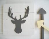 Antler Nursery . Deer Head . Antler Sign . 3D Sign . Hunting Nursery . Lodge .Wood Deer Sign . Antlers . Tribal Nursery Art . Woodland Decor