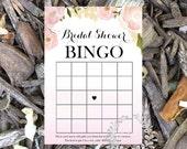 Instant Download- Bridal Bingo, Wedding shower game, bridal shower game, shower bingo card, Instant Download, pink water color roses