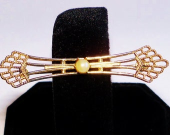 Vintage Bar Pin Brooch Pearl Filigree Gold Tone Jewelry Jewellery Accessories Victorian Edwardian Style Gift Guide Women