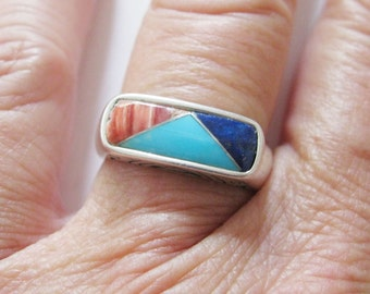Carolyn Pollack Relios Multi Gemstone Ring Sterling Silver Retired QVC Size 7 Free US Shipping - fl/ct