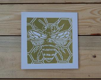 Golden BumbleBee. Hand Printed Linocut Greetings Card.