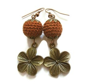 Crochet Earrings, Crochet Bead Earrings, Flower Earrings, Japanese Blossom Earrings, Flower Charms, Burnt Orange Beads, Rust Colored Beads
