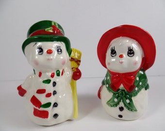 Vintage Lefton Snowmen Salt & Pepper Shaker Set - Snowmen Shakers - Vintage Lefton Snowmen Shakers - Lefton Shakers - Snowmen Salt Shakers