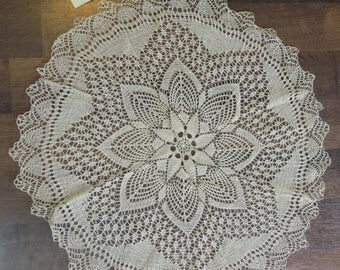 Antique Hand Made Norwegian Lace Netting Doily Star Pattern From Norway box N