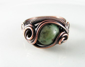 Wire Wrapped Ring African Turquoise Ring Size 7 Copper Ring Dragons Eye Ring Wire Wrapped Jewelry Copper Jewelry