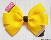 Yellow Pencil Pinwheel Bow - Pencil Bow, Yellow Pencil, Back to School Bow, School Hair Bow, Back to School Outfit