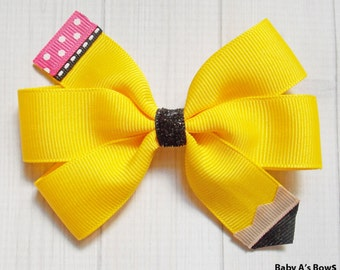 Yellow Pencil Pinwheel Bow - Pencil Bow, Yellow Pencil, Back to School Bow, School Hair Bow, Back to School Outfit