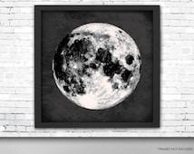 Giant Full Moon Poster, Moon Art Print, Square Full Moon Print, Wall Art, Home Decor, Luna Poster, Moon Print, Lunar Moon Print, Luna Moon