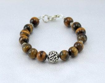 Tiger Eye Bracelet with Silver Focal.  Gemstone Bracelet.