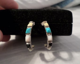 Sterling Silver, Turquoise, Onyx and Mother of Pearl Half-Hoop Earrings