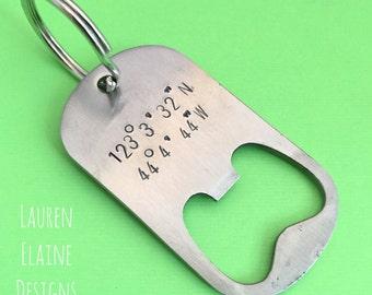 Personalized GPS Coordinates Bottle Opener Keychain- Hand Stamped Steel Dog Tag- GPS Coordinates Latitude Longitude