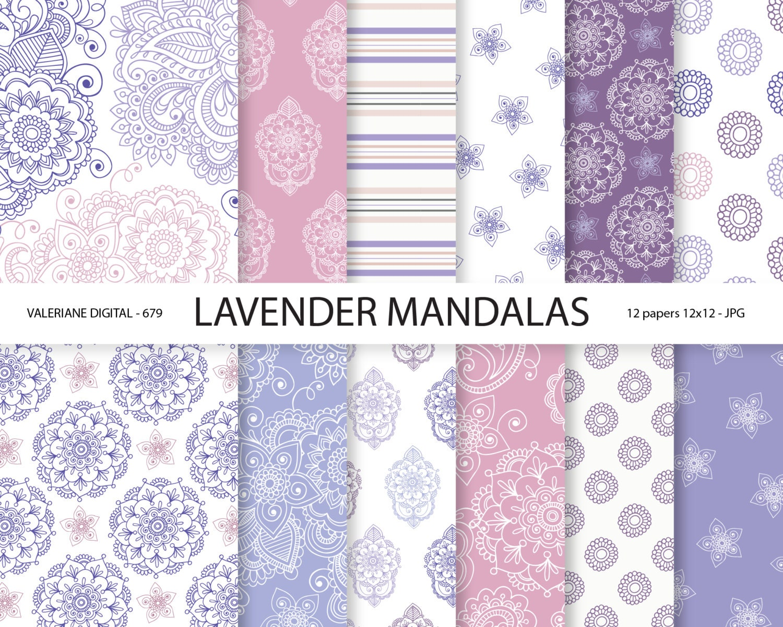 Scrapbook paper canada online - Mandala Digital Paper Mandalas Wedding Papers Lavender And Purple Papers Scrapbook Supplies 679