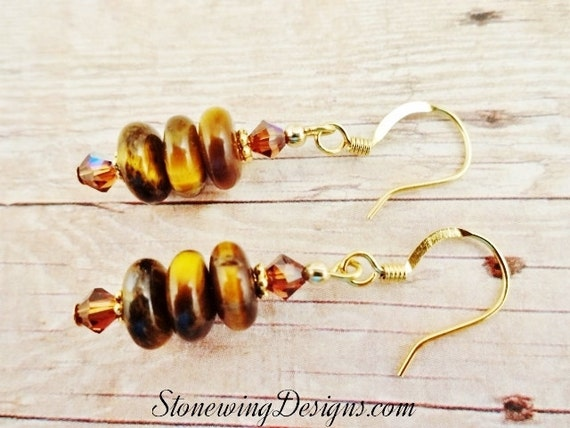 Tigers Eye Earrings, Tigers Eye and Swarovski Crystal Earrings, Brown Gemstone Earrings, Natural Tigers Eye Jewelry, Eclectic jewelry