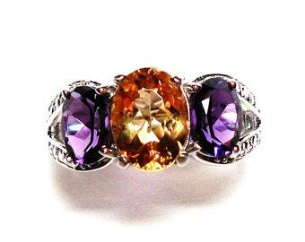 "Citrine ring citrine, 3 stone ring,citrine amethyst ring, anniversary ring, mothers ring s 6 3/4  ""Petticoat Junction"""