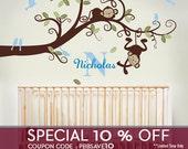 Wall Decal Baby Boy Nursery Decor : Branch Tree, Boy Monkeys and Custom Name - Nursery Wall Decal