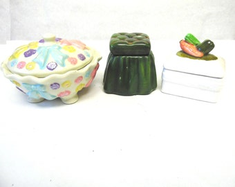 Trinket Jewelry Box Set of Three Ceramic Boxes