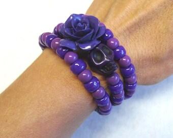 Day of The Dead Bracelet Sugar Skull Purple Rose