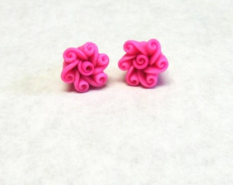 Hot Pink Flower Earrings Post