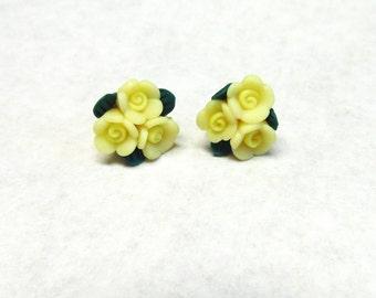 Yellow Rose Flower Earrings Post