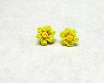 Yellow Flower Earrings Post