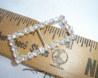 """Rhinestone ribbon slider silver color metal 1/2"""" opening faceted beads embellish fancy 1.5"""" by 3/4"""" diamante slide buckle"""