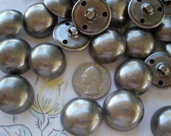 "Matte Antique Silver Buttons hollow dome shank size 40L (1"" 25mm) coat blazer jacket suit sewing crafts pewter color industrial steampunk"
