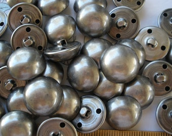 """Bulk Buttons 48 dome shank 1"""" Matte Antique Silver hollow 40L 25mm coat blazer jacket costume pewter color industrial steampunk Military"""