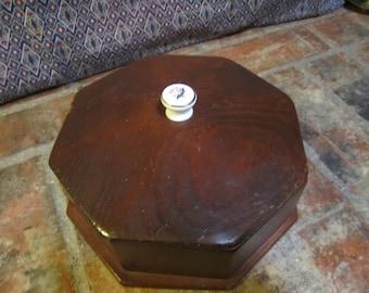 Vintage Wood Box Octagon Shape