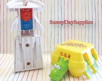 Vintage McDonalds Happy Meal Toys, Dinosaur and Robot, Changeables, Chicken McNuggets, Soft Drink, 2 in lot, Food Toys, Rare Drink toy