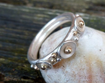 Handmade Silver and Gold Rockpool Ring