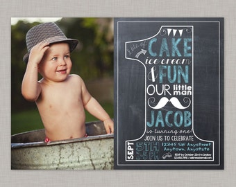 Boy First Birthday Invitation, Little Man Birthday Invitation