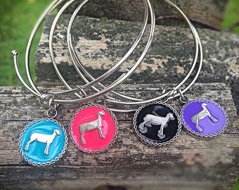 Show lamb charm bangle bracelet