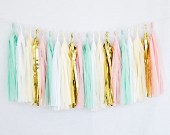 Tissue Paper Tassel Party Garland (20 Tassels Per Package) 14 Inch Long Tassels (Mint-Pink-Ivory-White-Gold Mylar)